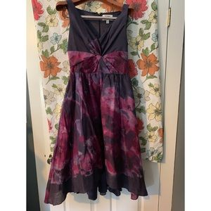 Neiman Marcus by Target purple floral v-neck dress